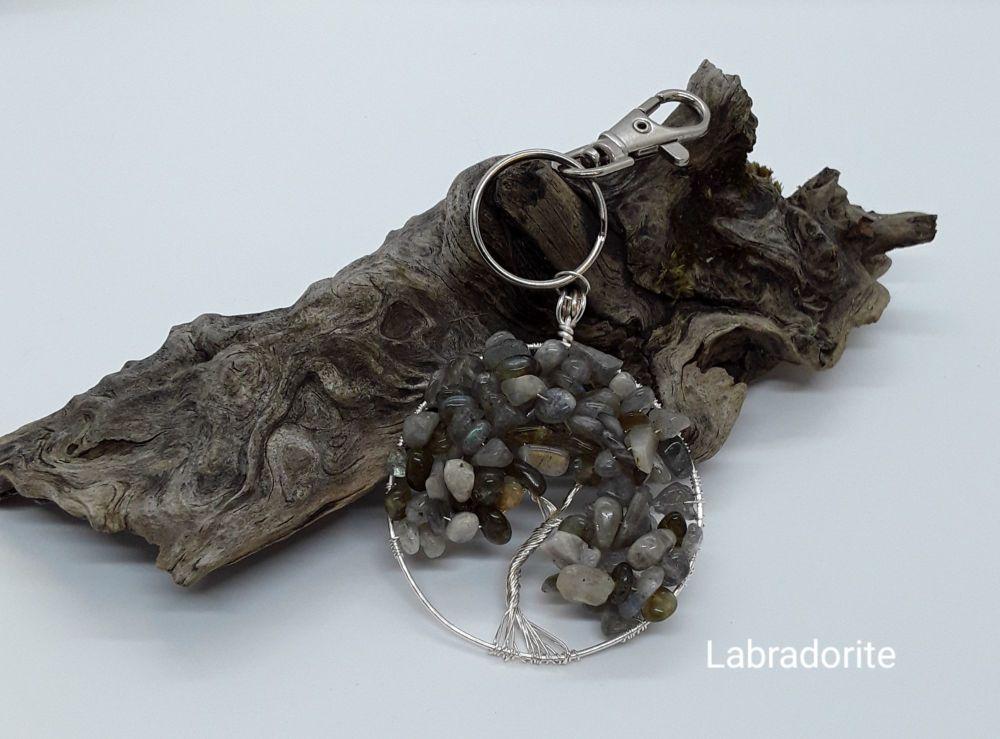 Amazonite Tree Of Life Bag Charm/Keyring