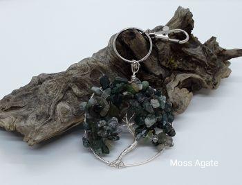Moss Agate Tree Of Life Bag Charm/Keyring