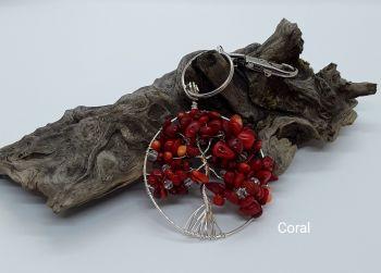 Coral Tree Of Life Bag Charm/Keyring