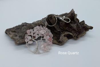 Rose Quartz Tree Of Life Bag Charm/Keyring