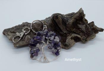 Amethyst Tree Of Life Bag Charm/Keyring