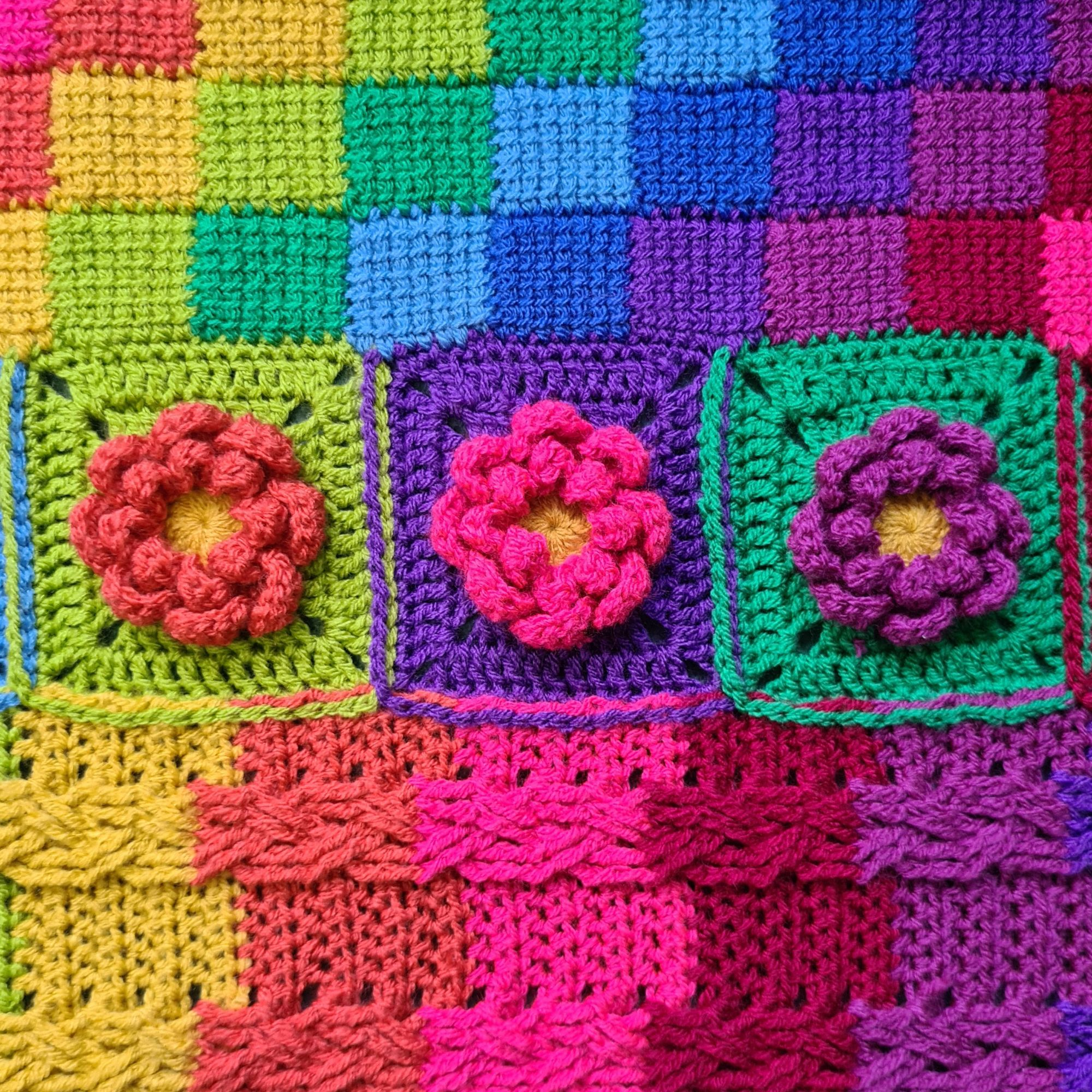 Diana Bensted - Crochet masterclass 7 cables - 8 Flower - 9 Tunisian entrel