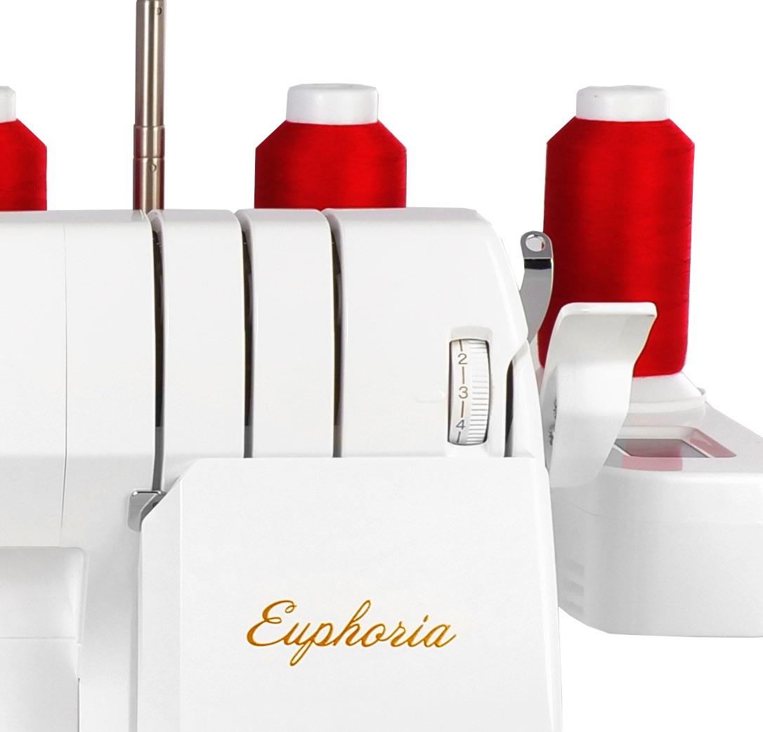 baby lock Euphoria cover stitch machine automatic thread delivery system to cover stitch needles