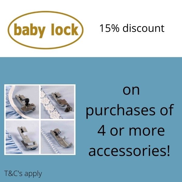 baby lock special offer 15% discount on 4 or more feet