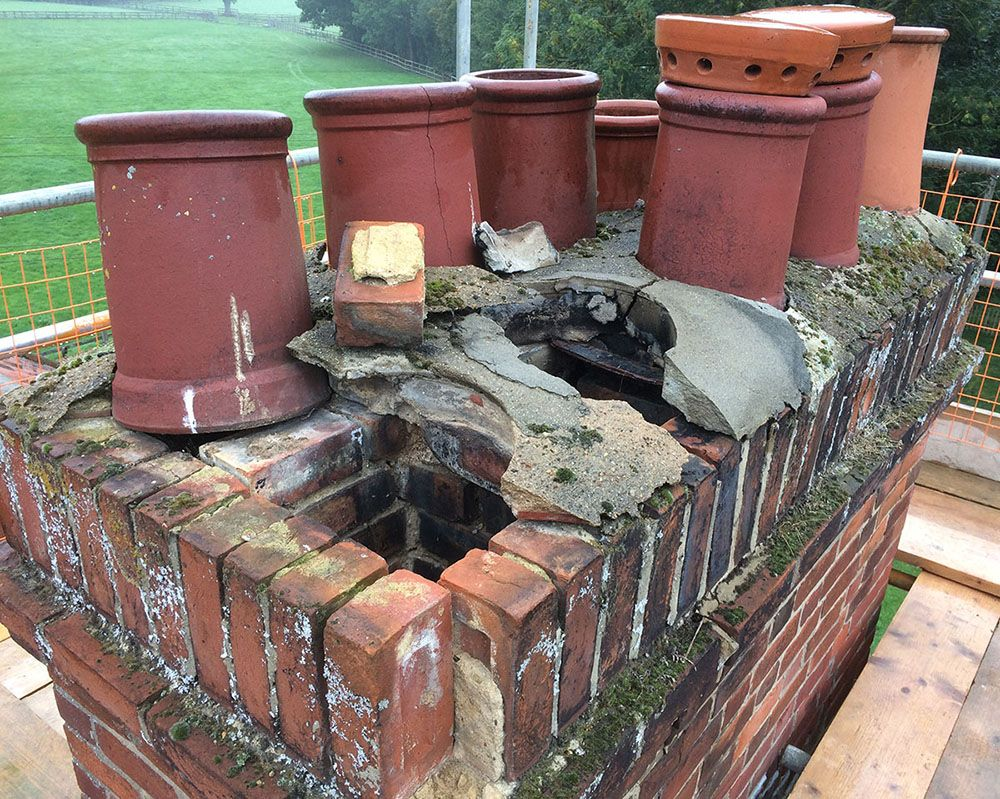 chimney pot rebed and repair needed
