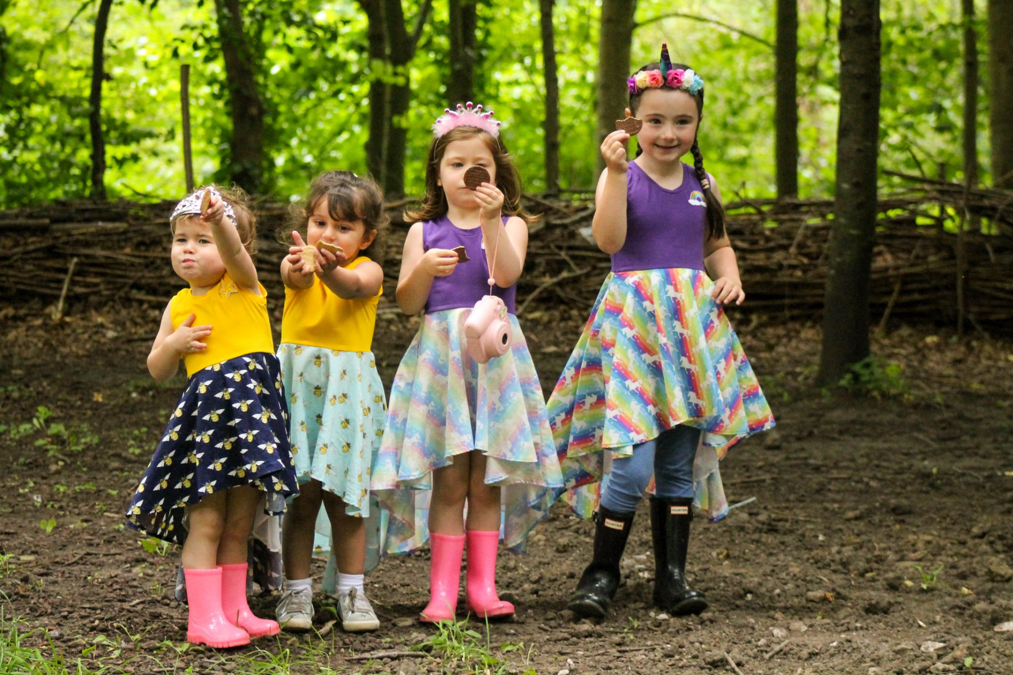 iris dares. girls dresses  with bees and unicorns