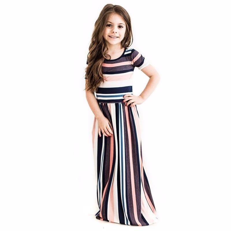 Mila - Long Striped Girls Dress with Pockets