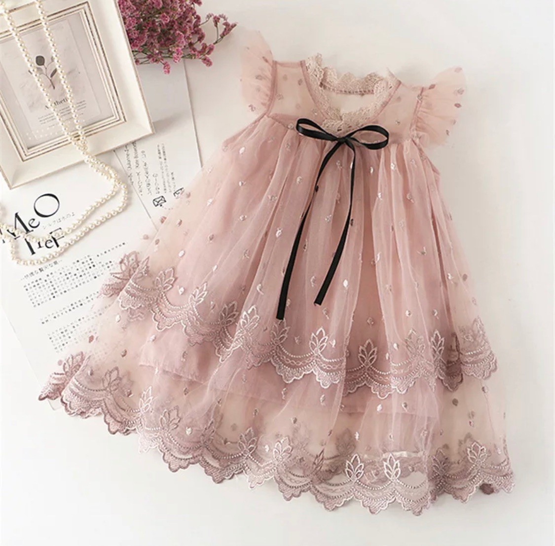 lace dusky pink bridesmaid girls dress