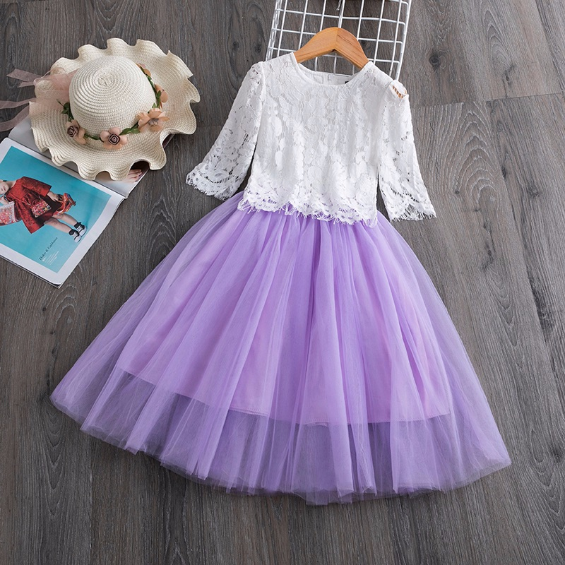 purple two piece girls dress