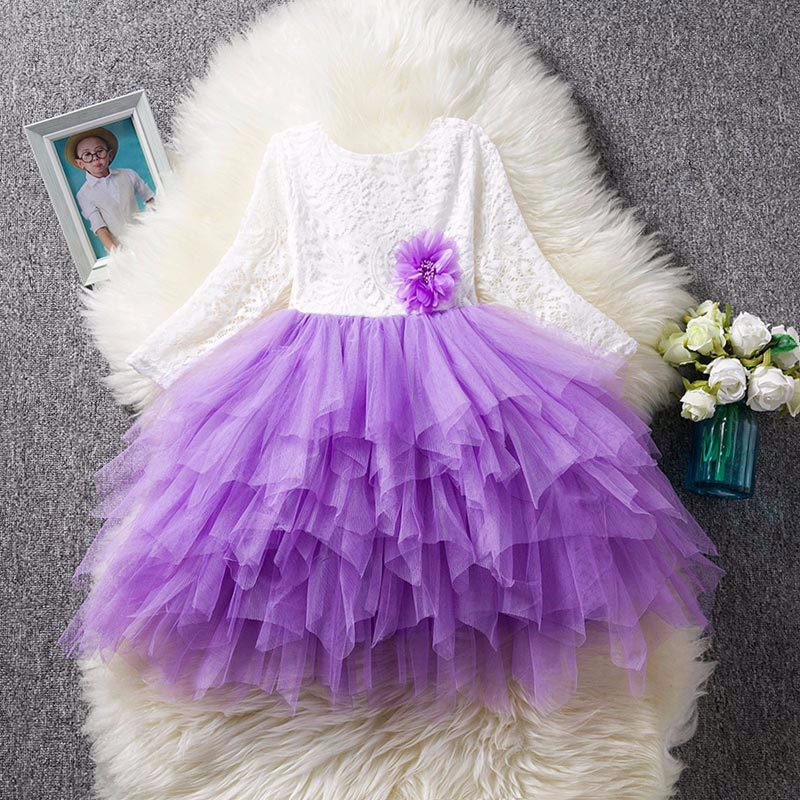 purple tulle party girls dress
