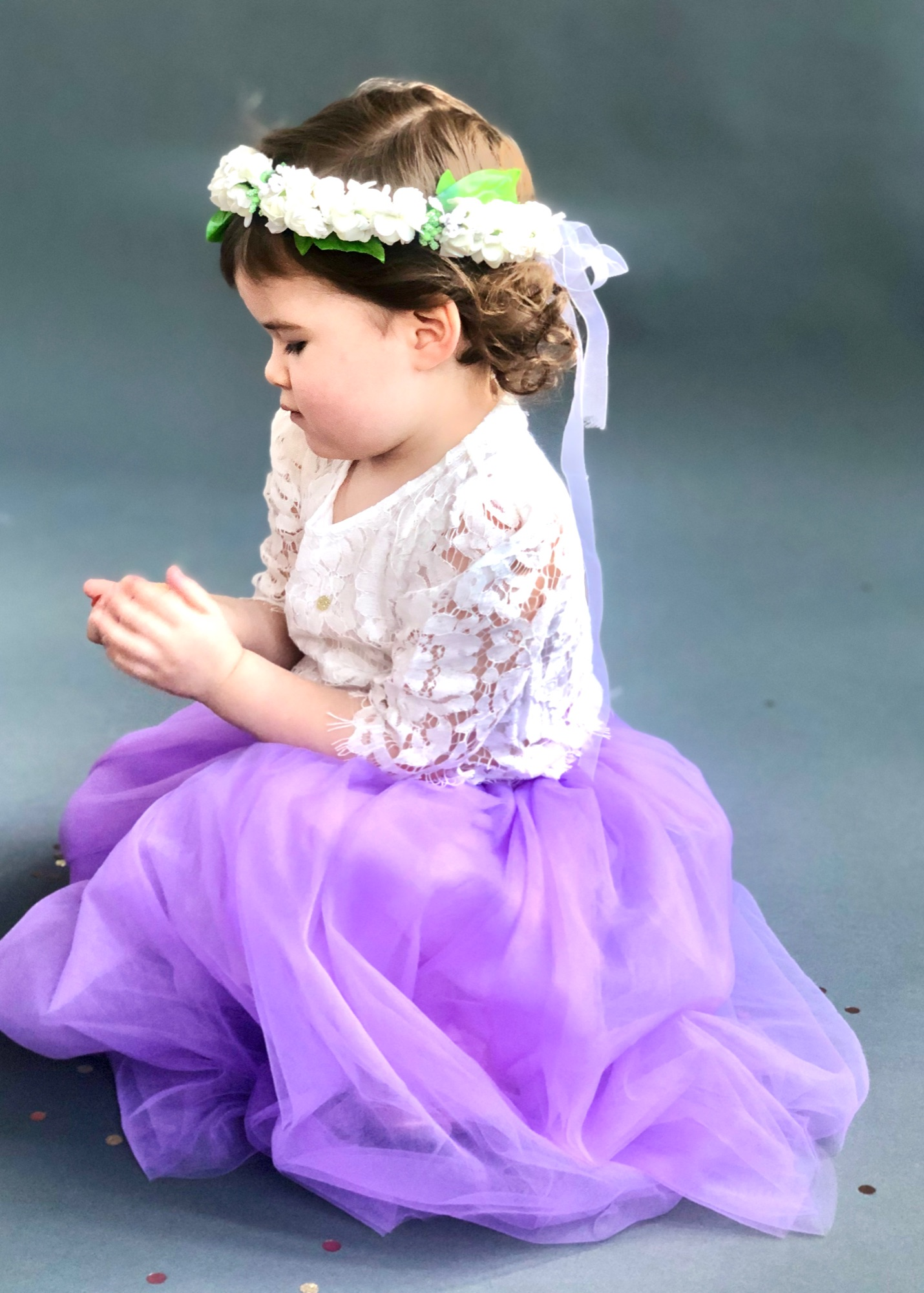 feminine long girls dress flower girl