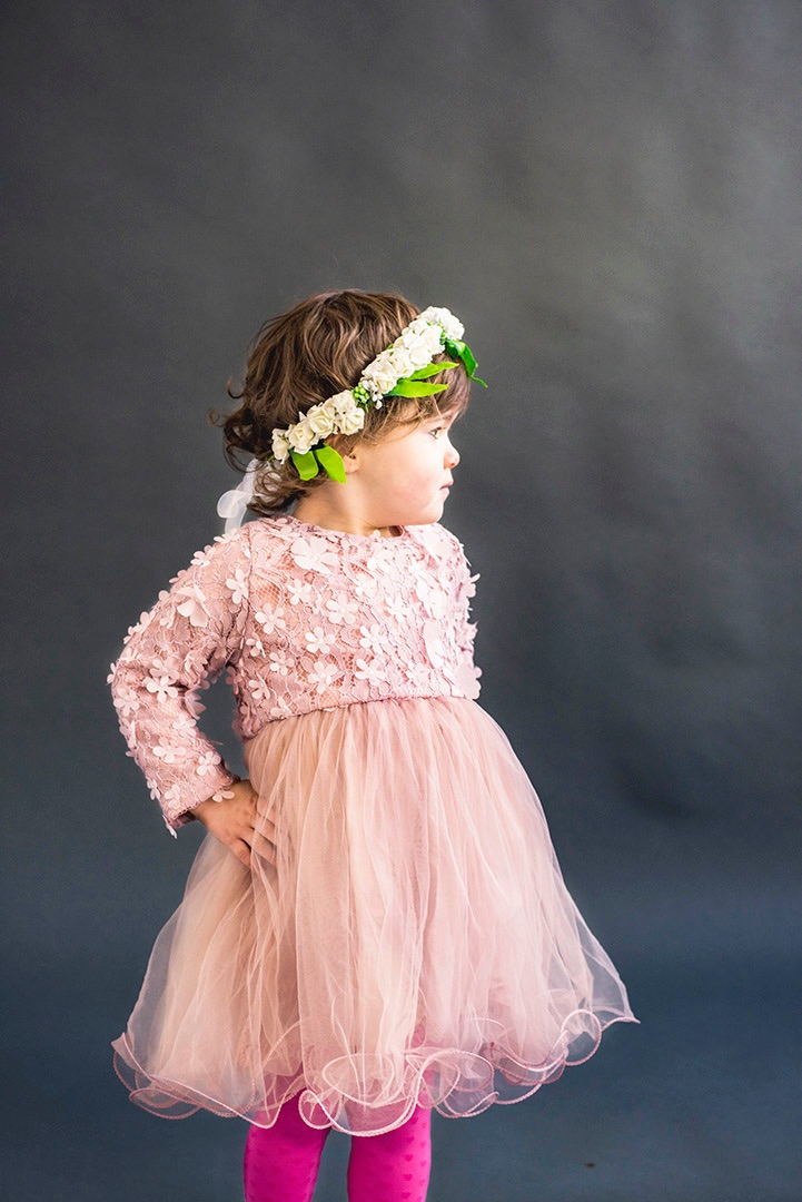 petal pink flower girl dress