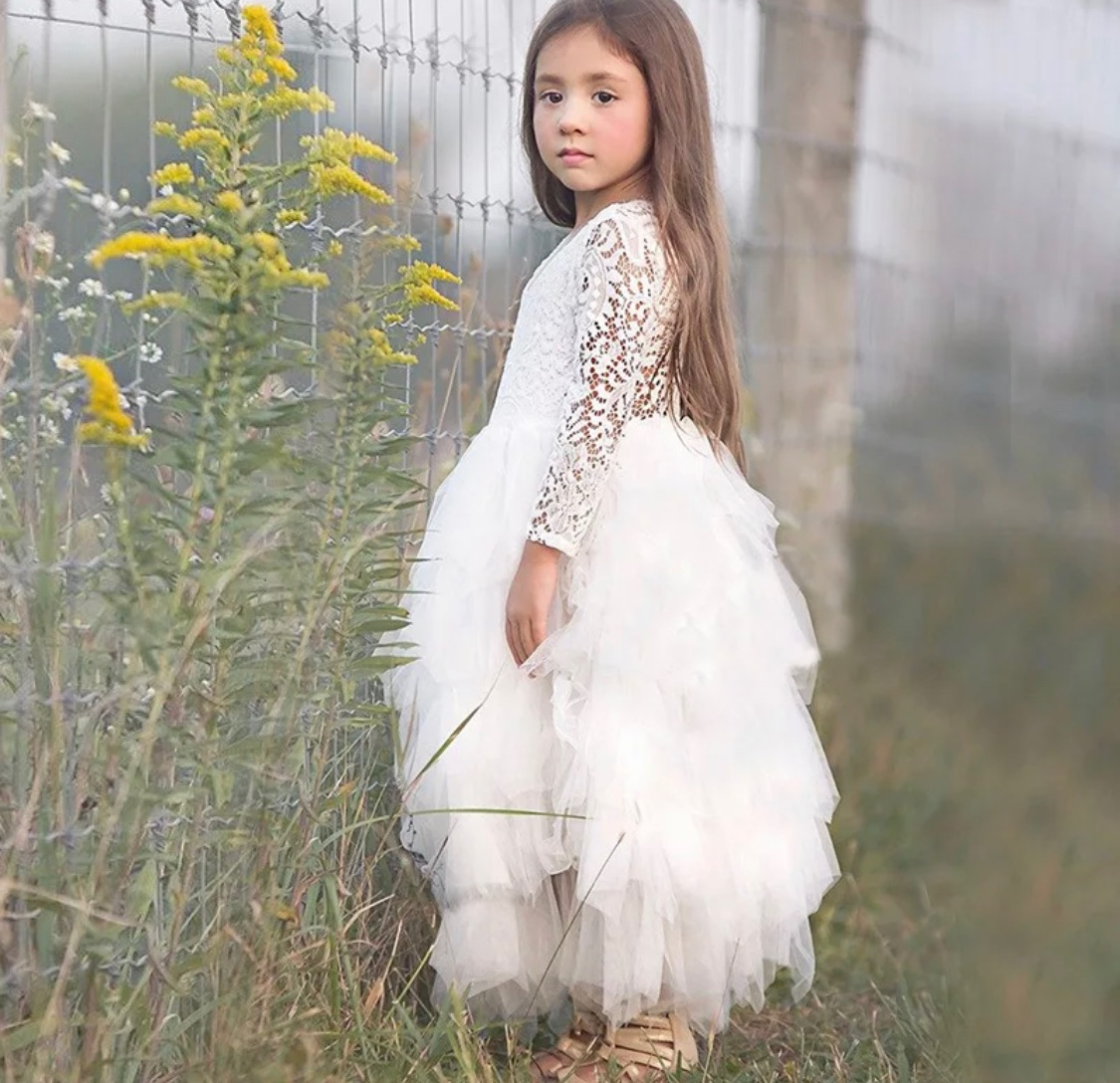 bridesmaid flowergirl white dress