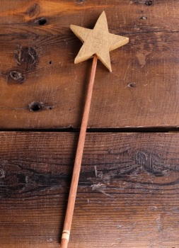 UNIQUE Hand Carved Wooden Star Wand in Gold & Natural