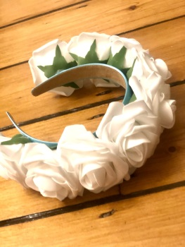 Rose Crown - Handmade Light Blue Satin Headband with White Rose's