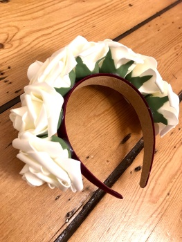 Rose Crown - Handmade Mulberry Purple Satin Headband with Soft Cream Rose's