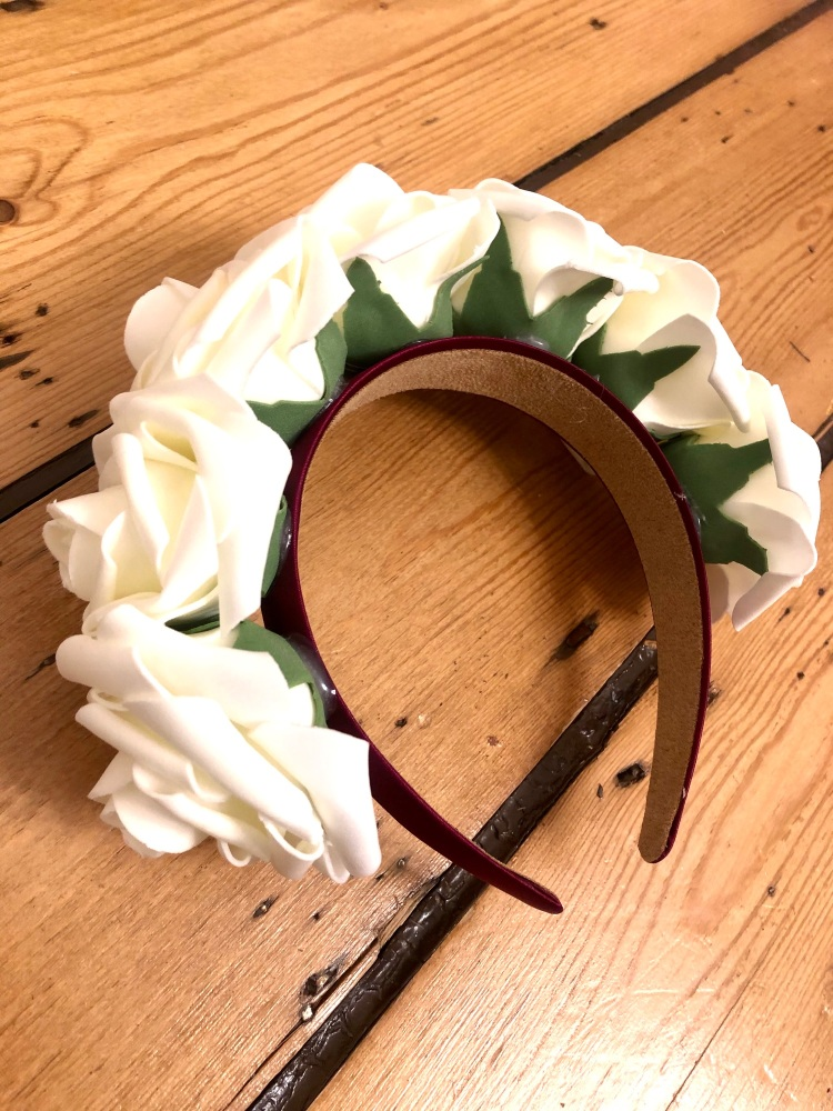 Rose Crown - Handmade Mulberry Purple Satin Headband with White Rose's
