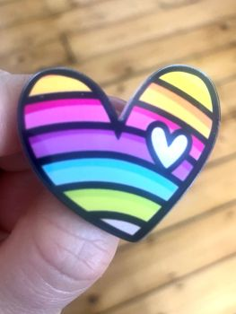 SALE!!! Rainbow Heart Love Badge - WERE £8