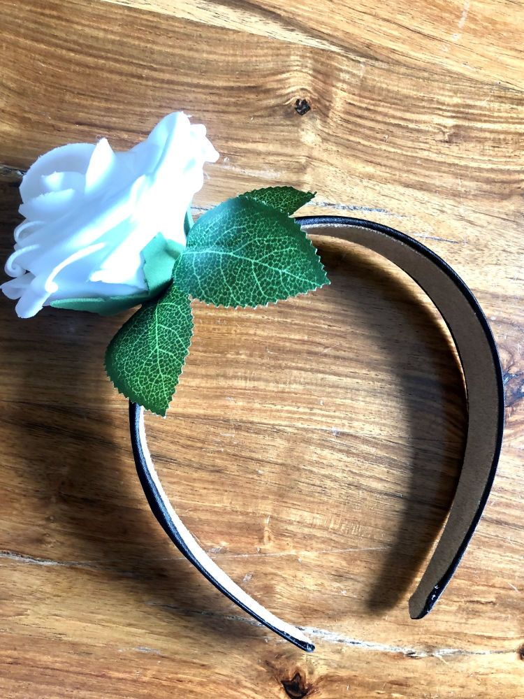 Rose Crown - Handmade Black Satin Headband with A White Rose