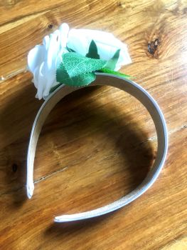 Rose Crown - Handmade White Satin Headband with 2 White Roses