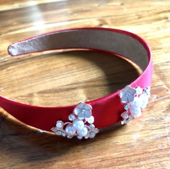 Handmade Ruby Red Headband with Pearl, Silver and Crystal Embellishment