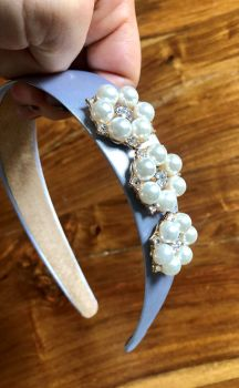 Handmade White Headband with Pearl, Gold and Crystal Embellishment