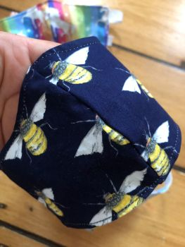 Navy Bee 100% Cotton Face Mask for 3-12 yr olds