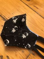 Black Spaceman 100% Cotton Face Mask for 3-12 yr olds