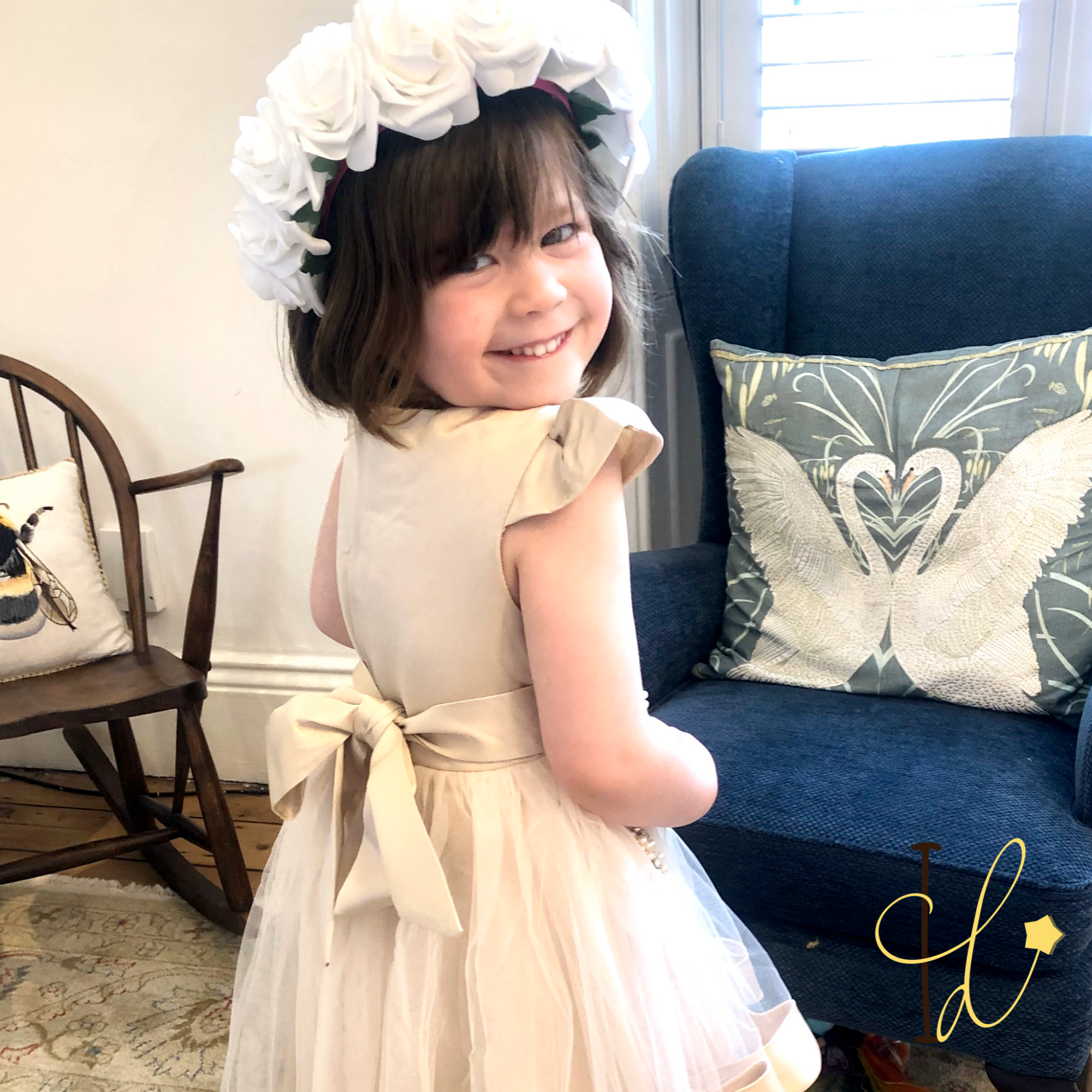 champagne flowergirl dress