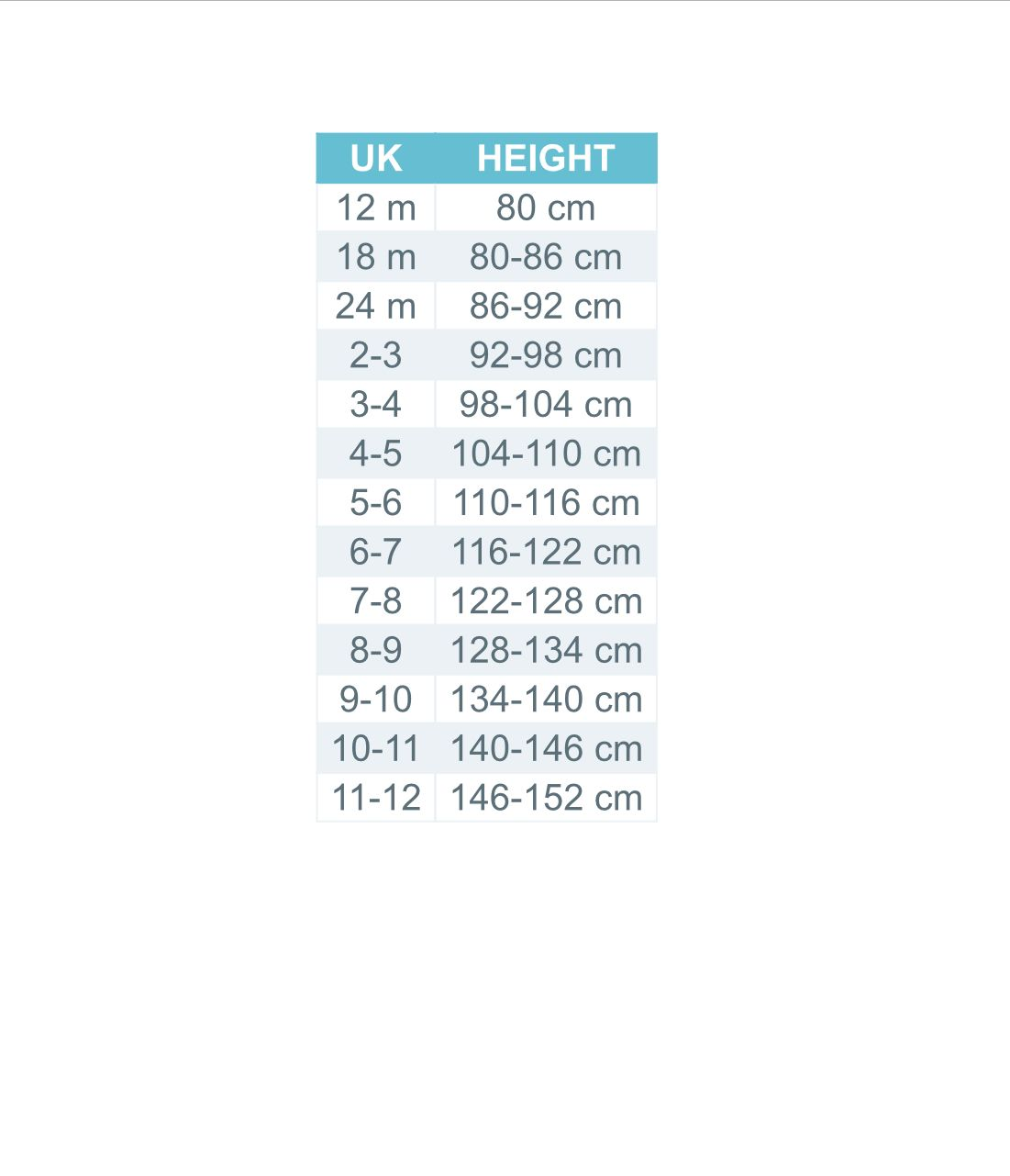 Dress Sizing UK kids