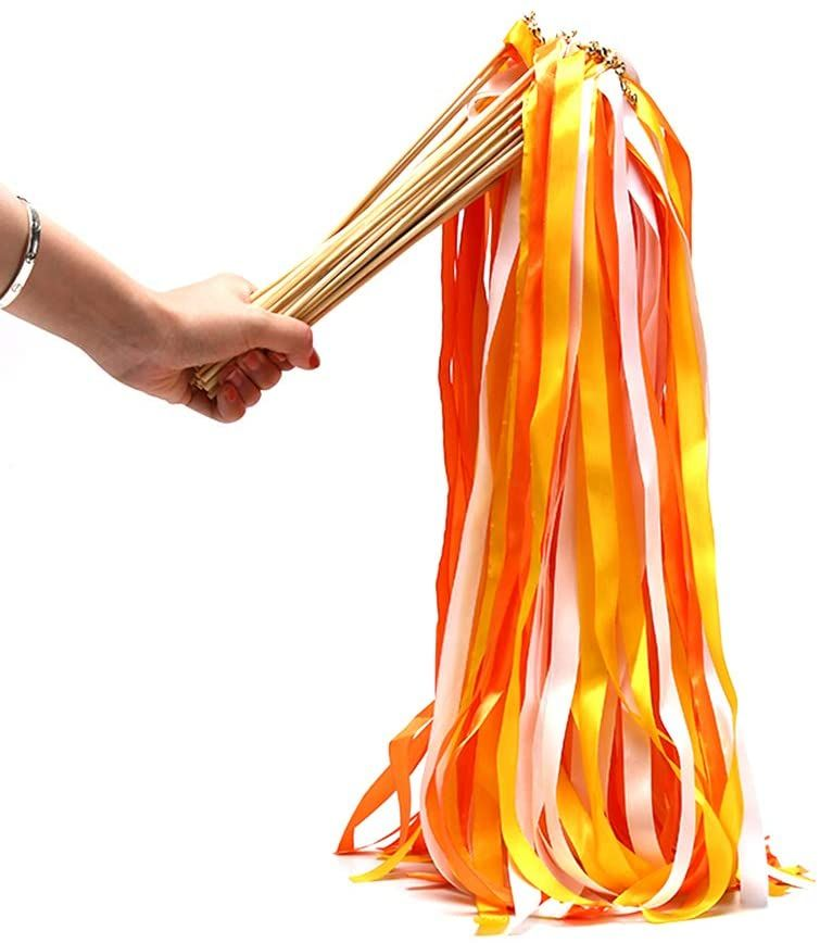 Orange and Yellow Ribbon Wish Wand with Bell