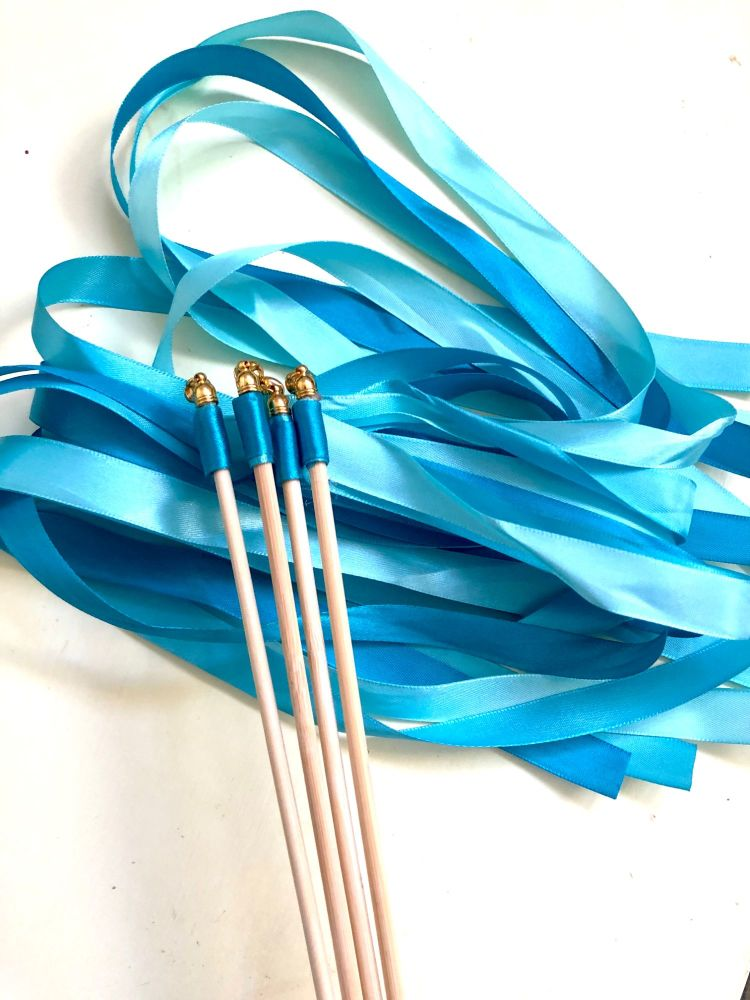 Turquoise Ribbon Wish Wand with Bell