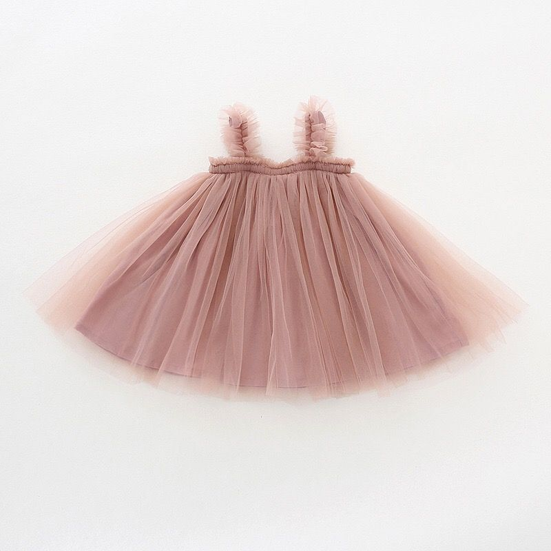Lulu   - Soft Pink Tulle Summer Strap Ballet Dress, Size 1 to 4 years