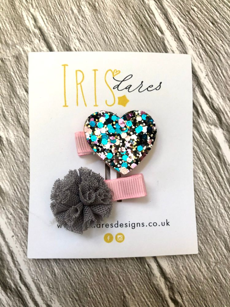 Handmade Glitter Heart Hair Clip Set