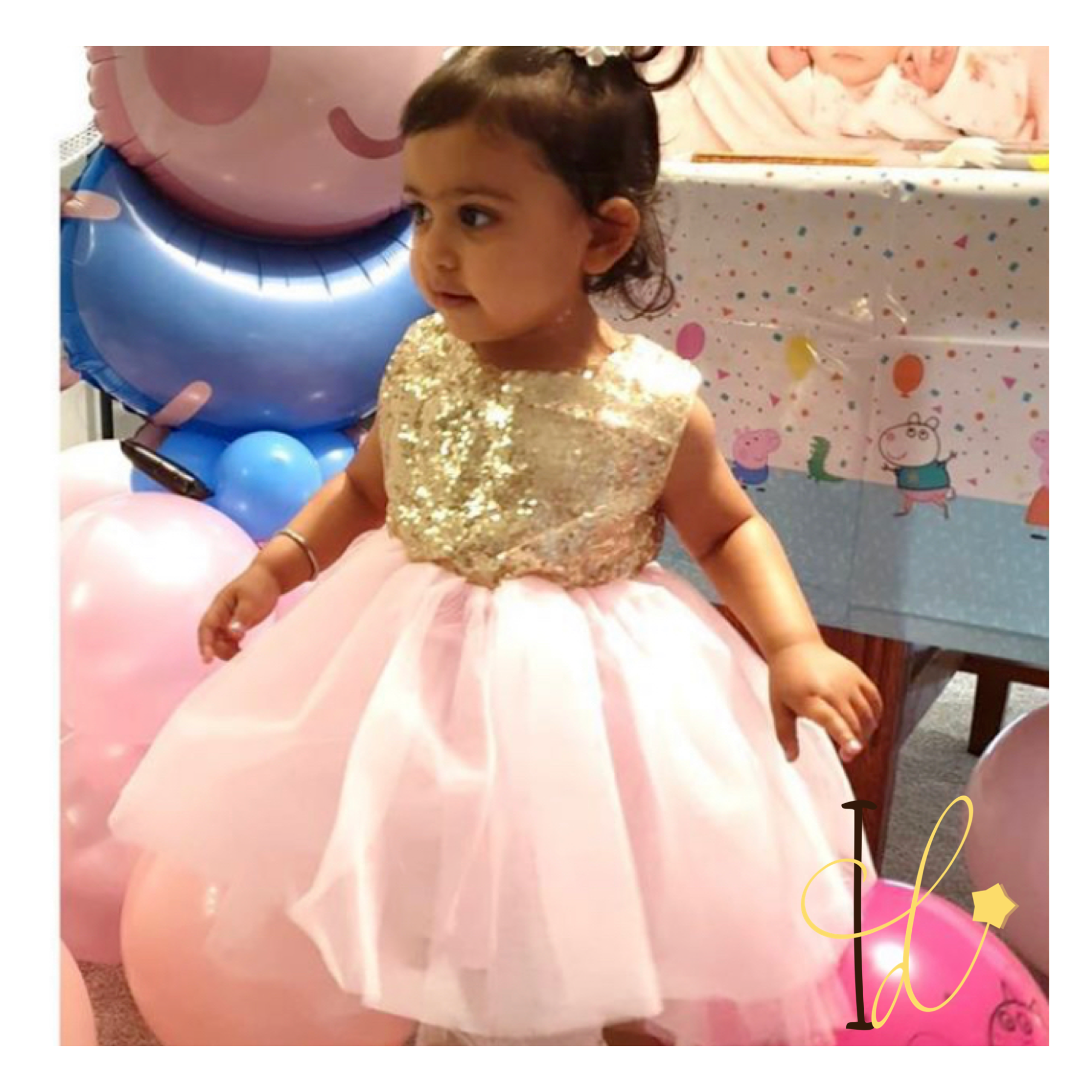 pink glitter birthday dress