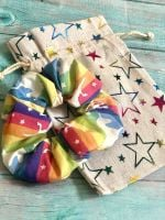 Handmade Rainbow Unicorn 100% Cotton Scrunchie