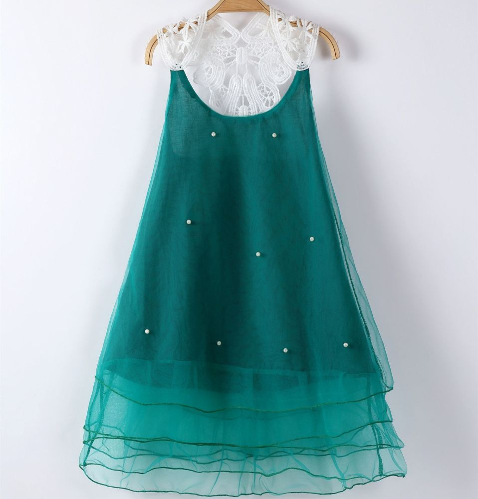 Esmerelda - Light Green Luxe Lace and Tulle Party Dress, Bridesmaid, Flower