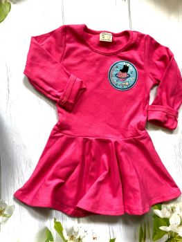 Girls Rule The World Dress - Comfy skater dress in Pink, Purple and White - 2-5 years ON SALE WAS £25