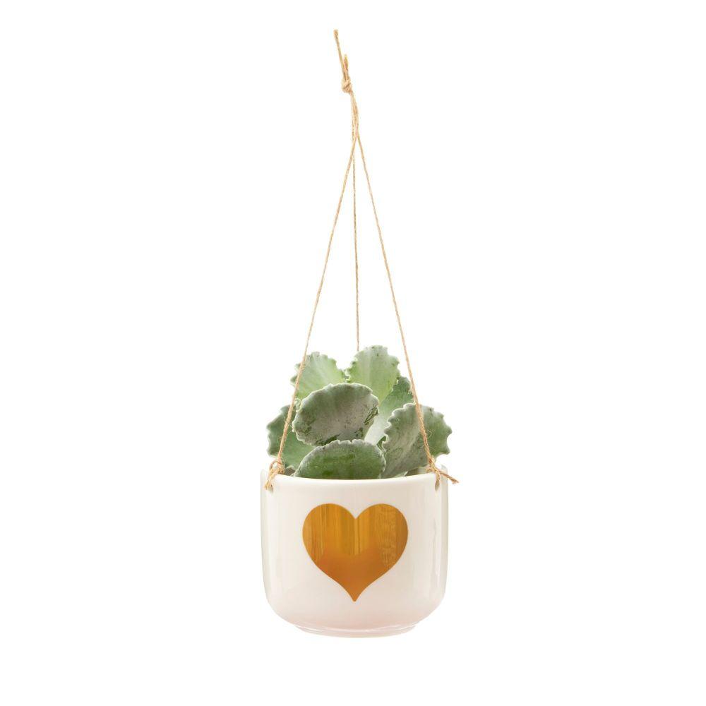Gold Heart Hanging Planter