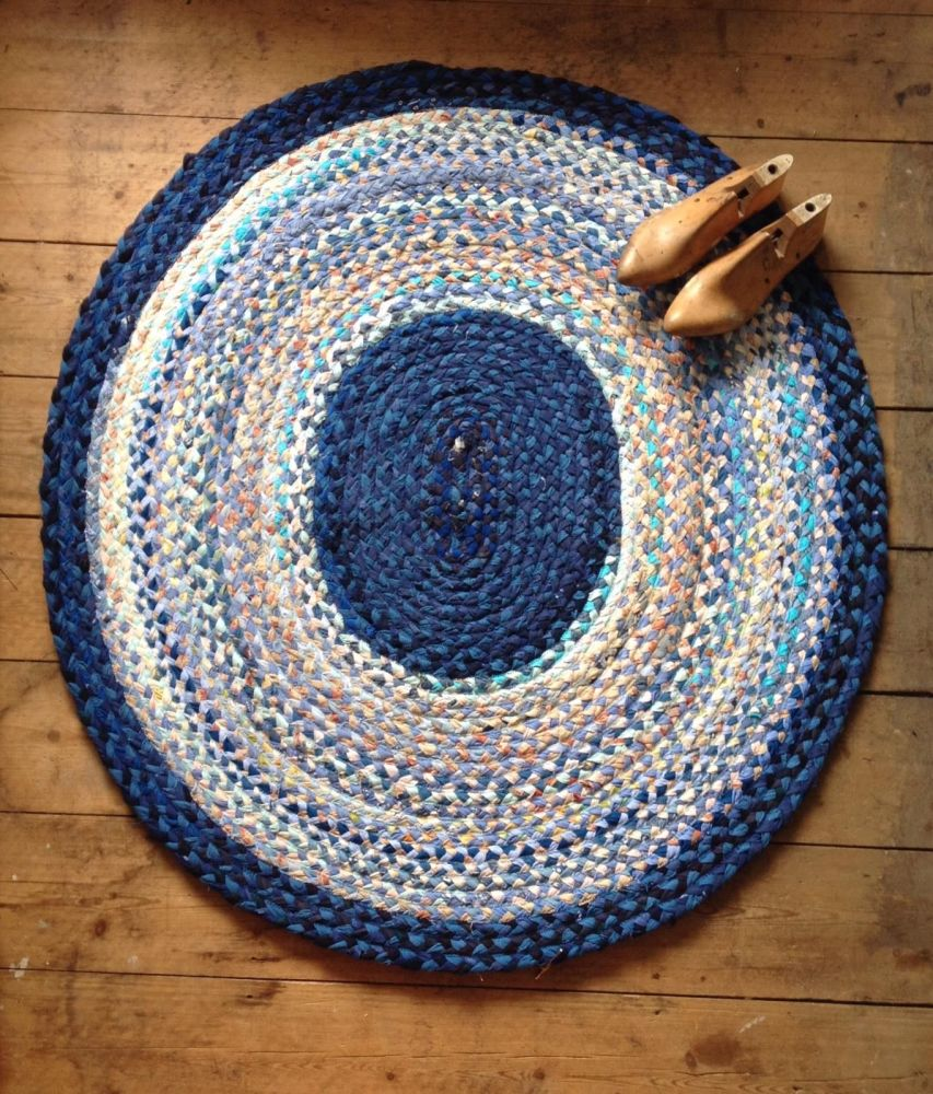 Large Blue Braided Rug