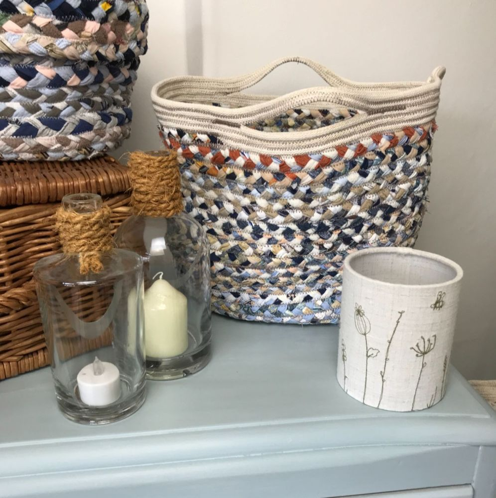 Small blue cord border and handle basket