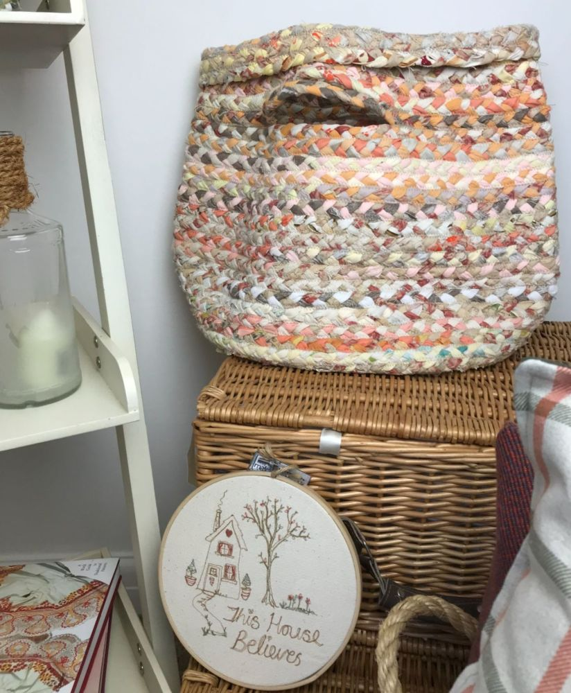 Large Peach Recycled Fabric Basket