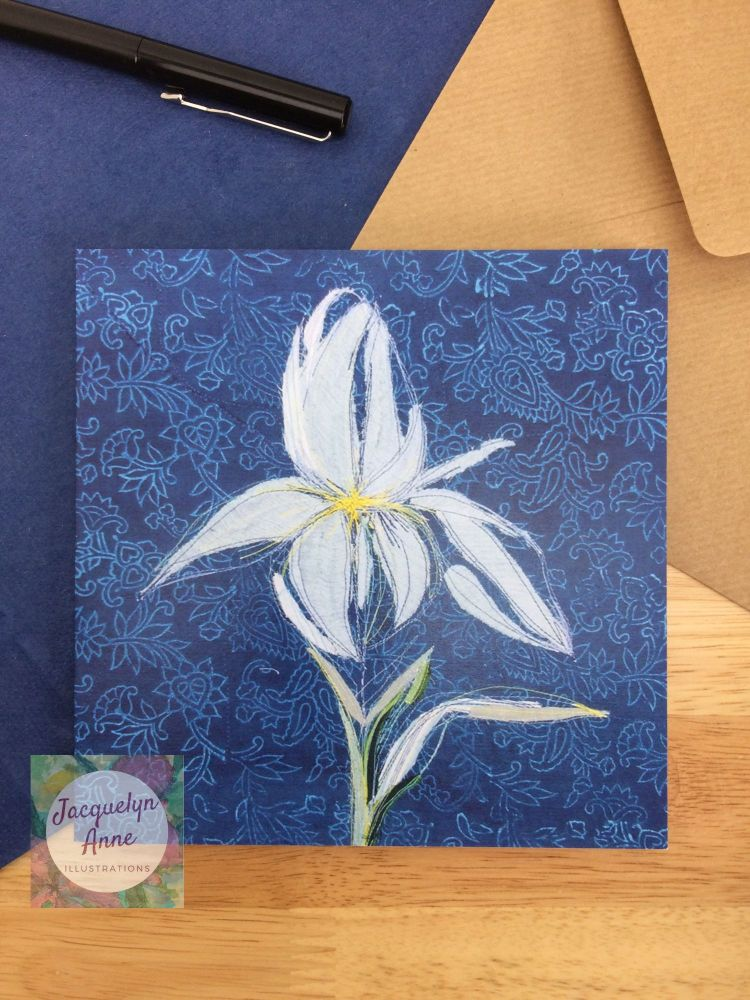 Blue Iris Greetings Card