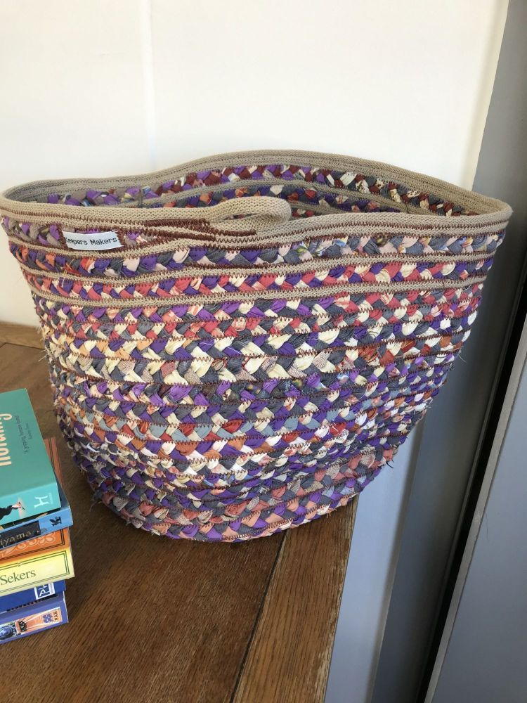 Purple Braided Recycled Fabric Basket