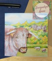Longhorn Cattle and Dunster Castle Greetings Card