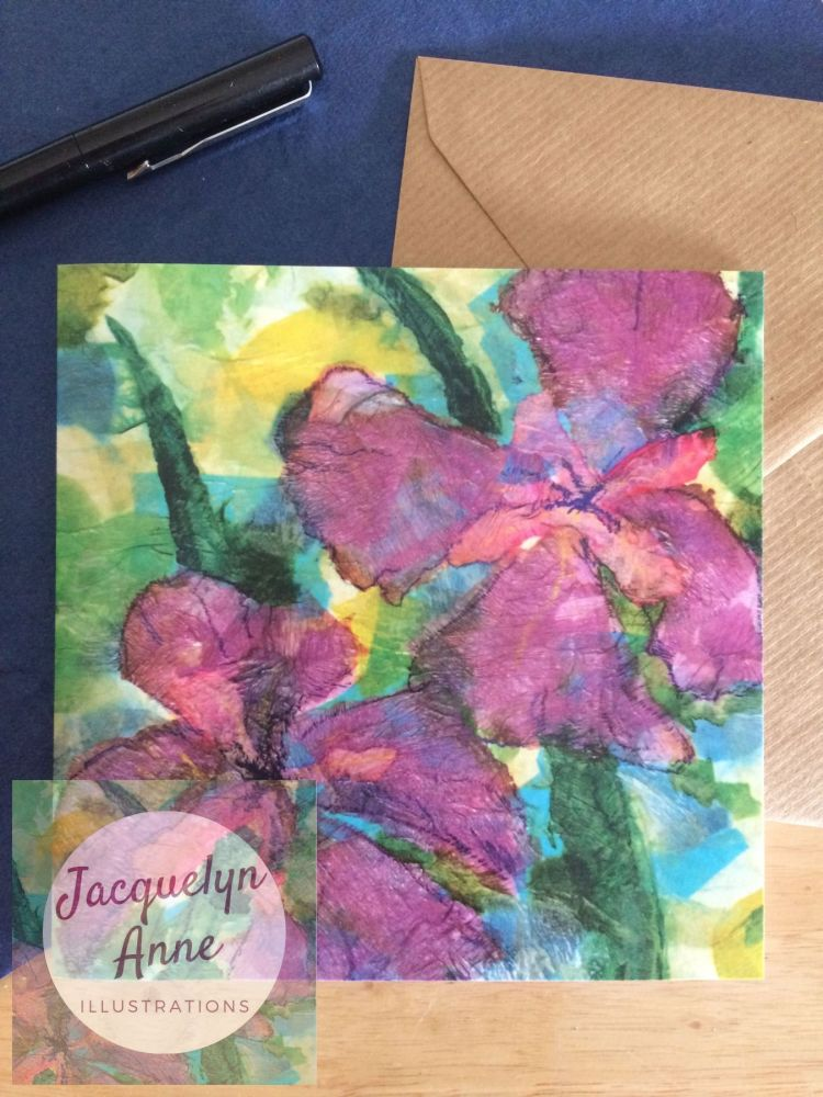 Purple Iris Greetings Card