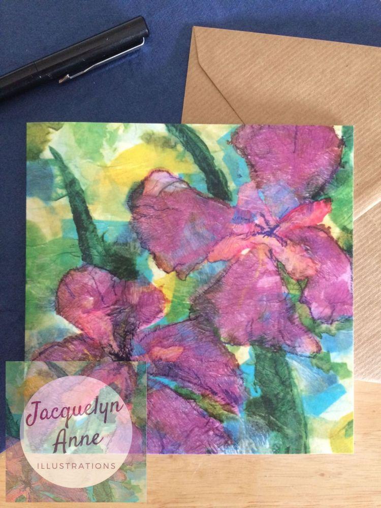 Purple Iris Greetings Card