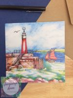 Relaxing on the coast at Watchet Greetings Card