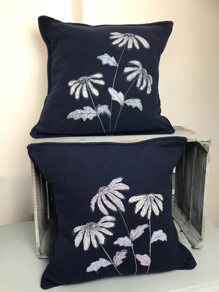 Echinacea illustrated pair of cushions