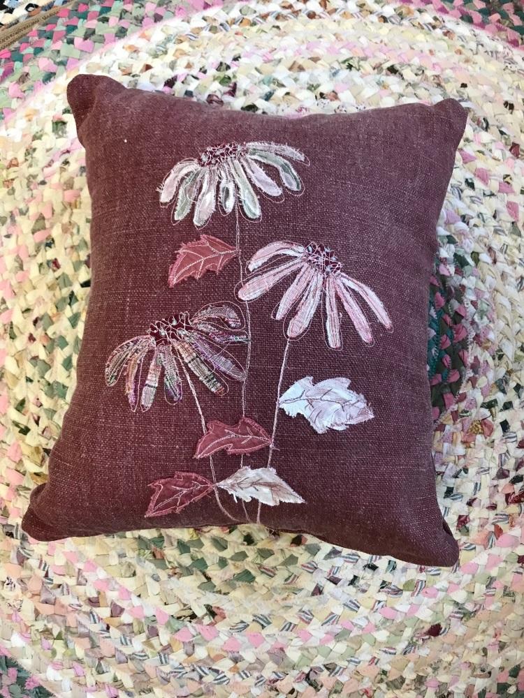 Pink echinacea cushion